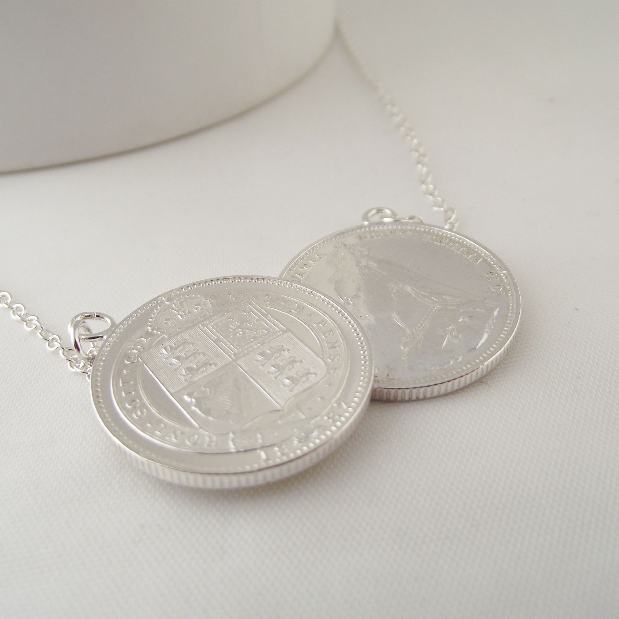 coin necklace silver tom pendant wood products